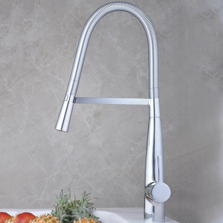 Single hole kitchen faucet hot and cold, Rotated dish basin faucet mixer chrome plated, Kitchen bend sink basin faucet pull down kitchen chrome plated brass faucet single handle pull out pull down sink mixer hot and cold tap modern design