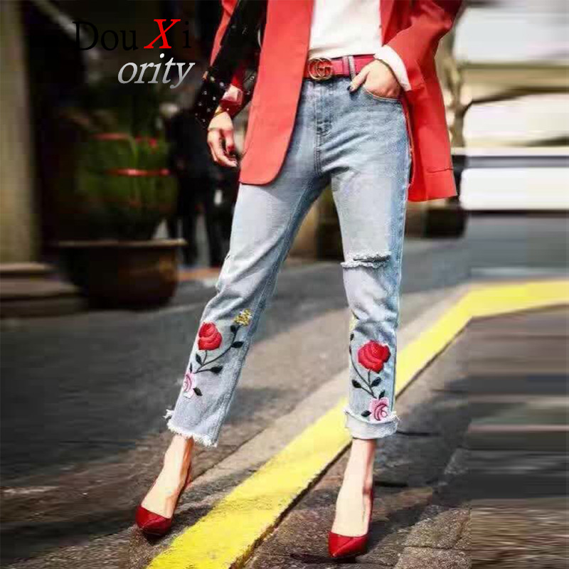 European and American style Rose embroidery pattern 2017 Jeans For Women Straight Female Light Blue Casual Pants Capris flower embroidery jeans female blue casual pants capris 2017 spring summer pockets straight jeans women bottom a46