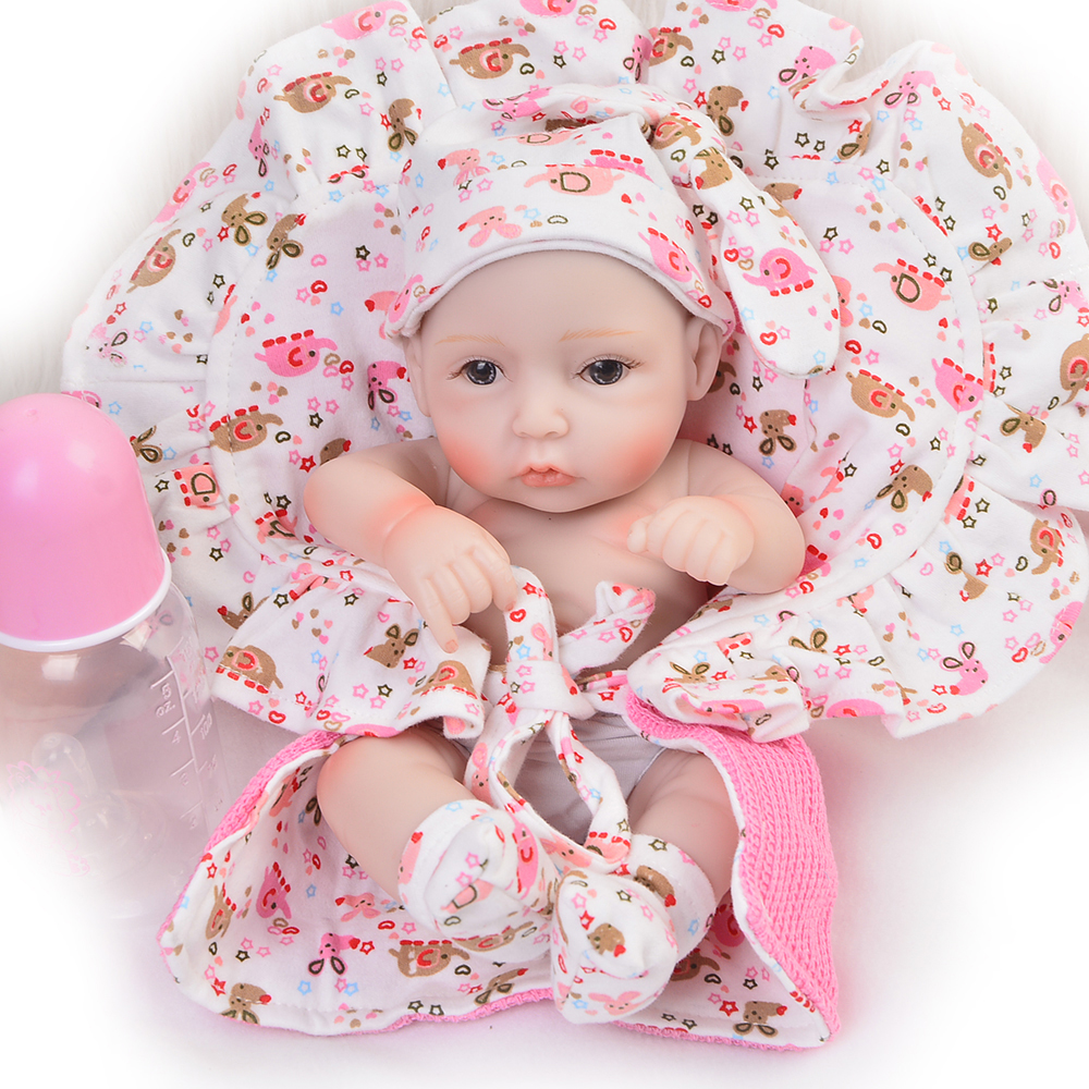 Handmade 11 Inch Lifelike Reborn Girl Baby Doll Full Silicone Vinyl Realistic Newborn Babies With Clothes Kids Birthday Gift handmade 22 inch newborn baby girl doll lifelike reborn silicone baby dolls wearing pink dress kids birthday xmas gift