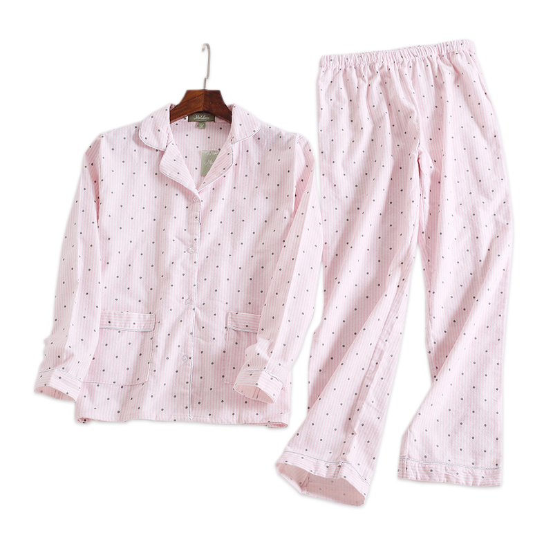 Pink polka dot cute women   pajama     sets   Autumn long sleeve 100% brushed cotton cozy sleepwear women pyjamas