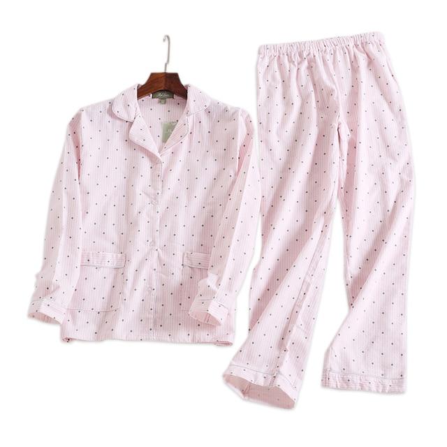 539a6fa37714 Pink polka dot cute women pajama sets Autumn long sleeve 100% brushed  cotton cozy sleepwear
