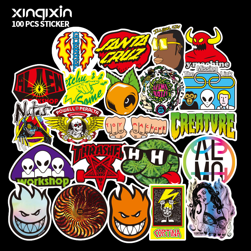 100 PCS Mix Brand Logo Stickers For Laptop Skateboard Luggage Car Styling Bike Decals Cool Waterproof Sticker