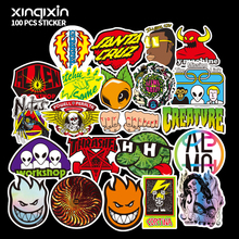 100 PCS Mix brand logo Stickers for Laptop Skateboard Luggage Car Styling Bike Decals Cool Waterproof Sticker 300 pcs mix funny stickers for laptop skateboard luggage car styling bike jdm doodle decals home decor cool waterproof sticker