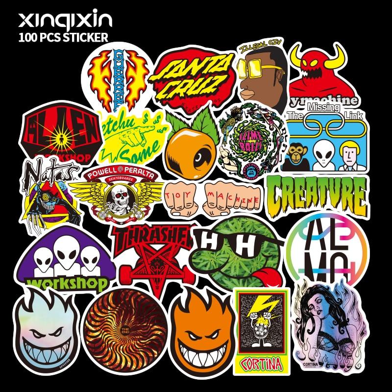 100 PCS Mix brand logo Stickers for Laptop Skateboard Luggag