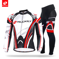 NUCKILY Winter Men's Cycling Clothing Polyester Thremal Fleece Long Bike Jersey And Foam Pad Tights Bicycle Sets ME008MF008