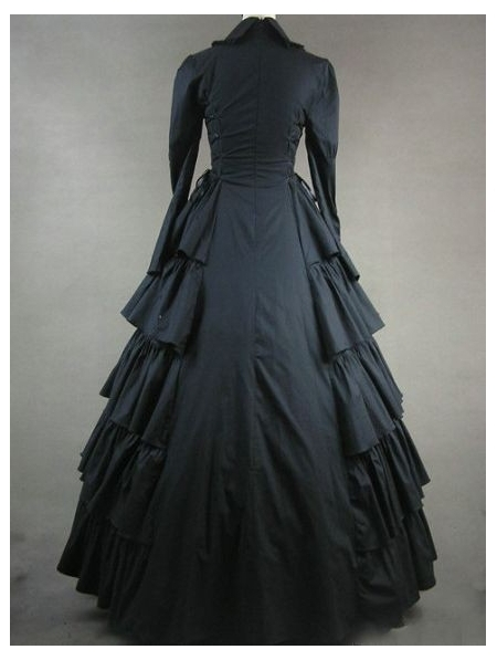 Noir Gothique Robe Classique Noir Victorien Classique vqtdOZ