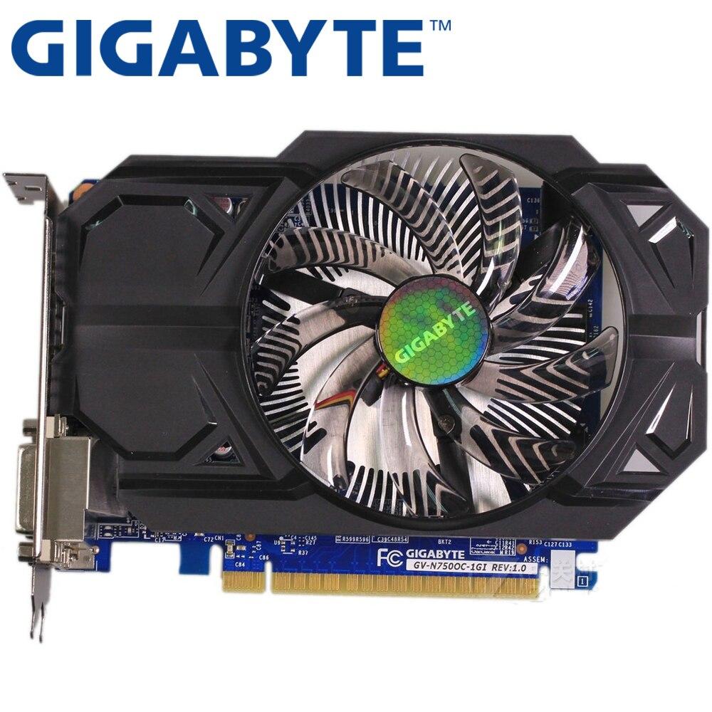GIGABYTE Графика карты оригинальный GTX 750 1 ГБ 128Bit GDDR5 видео карты для nVIDIA Geforce GTX750 Hdmi Dvi используются VGA карты на продажу