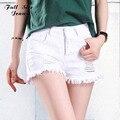 Verão de Grandes Dimensões Branco de Cintura Alta Shorts Jeans Plus Size Mulheres Denim Shorts Soltos Branco Rasgado Jean Femme 52 56 4XL 6XL 7XL XXS