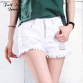 Verano de Gran Tamaño de Cintura Alta Jeans Shorts Blancos Mujeres de Talla grande de Mezclilla Shorts Loose Ripped Blanco Jean Femme 52 56 4XL 6XL 7XL XXS