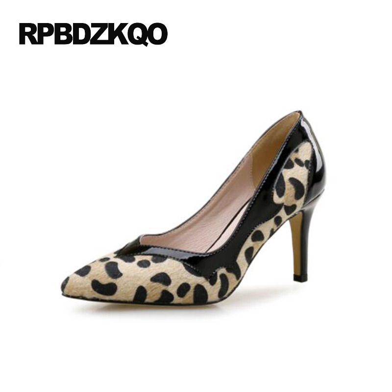 Small Size High Heels Sexy Pumps 33 4 34 Thin Abnormal 2017 Big 12 44 Multi Colored Leopard Shoes Women Pointed Toe Evening abnormal psychology 4e