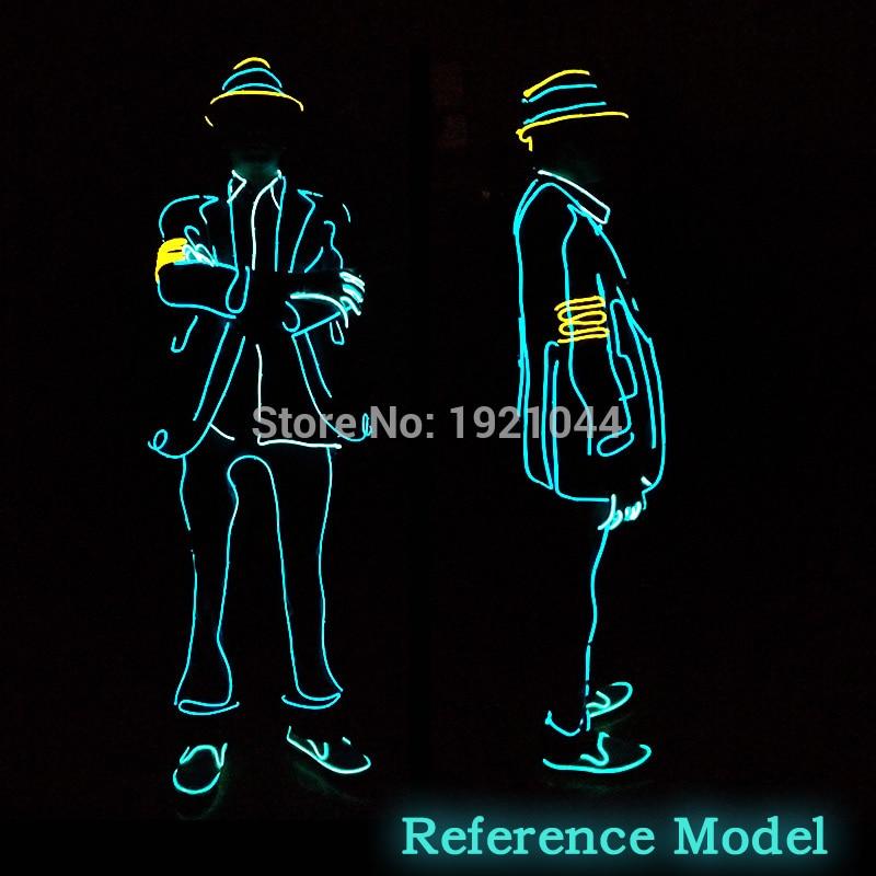 Kvalitní EL Obleky LED / EL Oblečení Světelné Kostýmy Zářící Rukavice Boty Lehké Oblečení Muži Taneční Oblečení