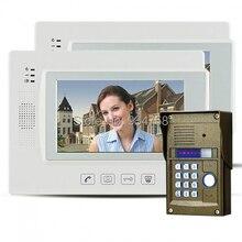 "7 "" Key Touch LCD Video de la puerta teléfono Video Intercom IR cámara contraseña bloqueo de visión nocturna 1V2"