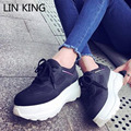 LIN KING New Style Women Casual Shoes Solid PU Low Top Lace-up Platform Shoes Round Toe Thick Sole Massage Outdoor Walking Shoes