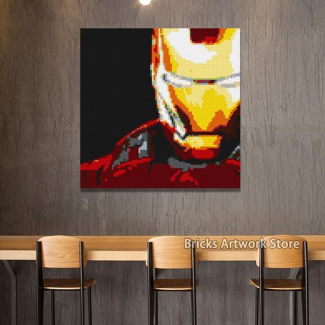 Pixel Art Mosaic Painting 4 50 50 Studs Set Marvel Super Heroes Iron