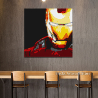 Pixel Art Mosaic Painting 4*50*50 Studs Set Marvel Super Heroes Iron Man Portrait Building Blocks 5k+Pcs 80*80cm Christmas Gifts