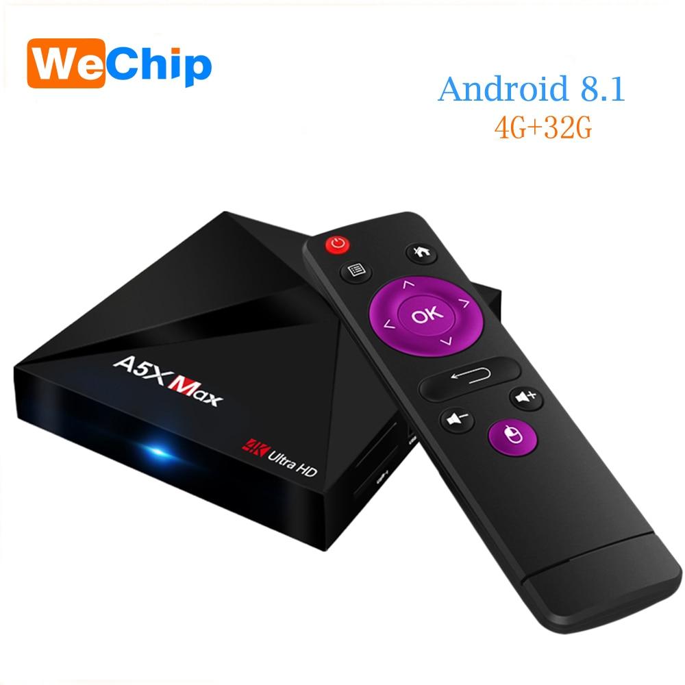 5pcs/lot A5X MAX Android 8.1 TV BOX RK3328 quad-core 4G 32G HDMI 2.0 4K HD Media Player3.0 USB 2.4G Wifi Bluetooth 4.0 Ott Box цена