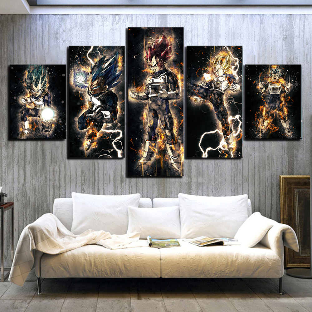 5 Piece Abstract Art HD Pictures Dragon Ball Vegeta Anime Poster Paintings Canvas Art for Home Decor Wall Art 2