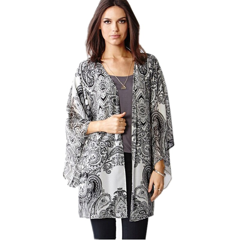 b915705af72cb Kimono Cardigan 2015 Poncho Chiffon Blouse Sun Protection Clothing Plus Size  Black White Floral Sheer Blouses Women Retro HY111