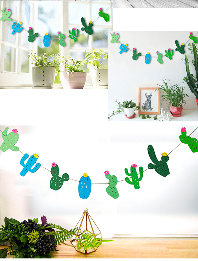 8pcs/set Cute Paper Garland Tropical Summer Bunting Cactus Banner baby shower Bunting Bedroom Swimming Pool Party Supplies