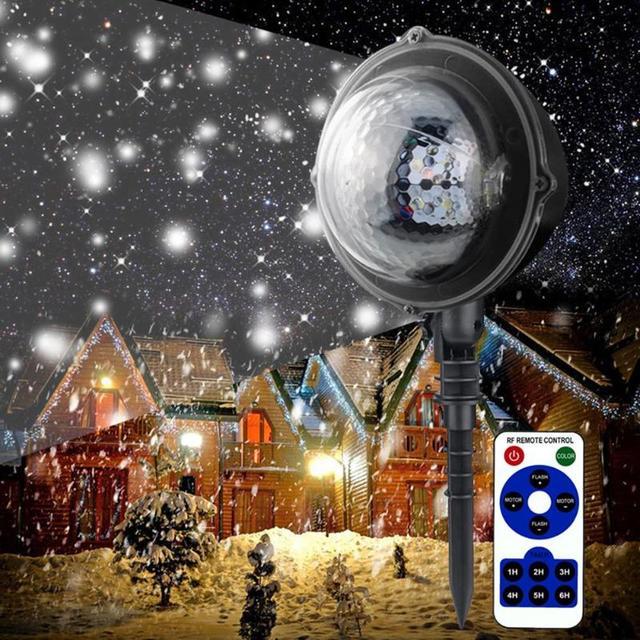Mini LED Christmas Snow Falling Laser Projector Light Waterproof Outdoor Home Garden Xmas Lawn Landscape Decor Lamp