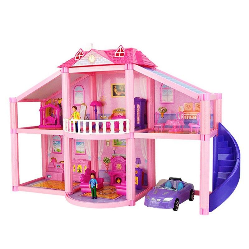 Casa de boneca com móveis em miniatura carro garagem diy 3d miniatura silvanian família dollhouse brinquedos para crianças