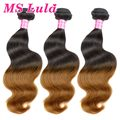 Free Shipping 3pcs lot Body Wave Brazilian ombre hair extensions weave remy human hair no tangle ms lula hair