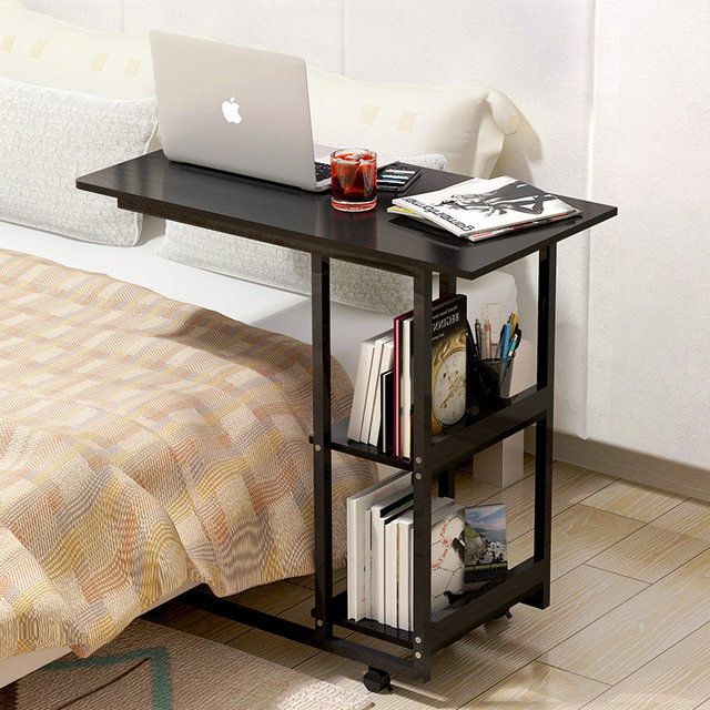Wood Adjustable Computer Table Multifunction Portable Laptop Table Movable Computer  Desk With Pulley