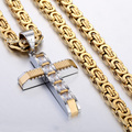 Fashion Gift Mens Chain Boys Carved Gold Silver Tone Cross Stainless Steel Pendant w Clear Rightstones Necklace Jewelry LKP353