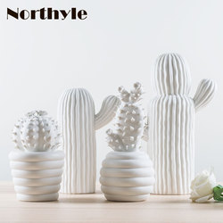 Modern white ceramic cactus decoration xmas gift figurines porcelain art craft for home ornament accessories feng shui decor
