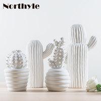 Modern white ceramic cactus decoration xmas gift figurines porcelain art craft for home ornament accessories feng shui decor