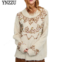 YNZZ 2018 New Winter Sequins Women's Sweater Long Sleeve Loose Knitted Pullovers Jumper Christmas Sweater Women Pull Femme YT497