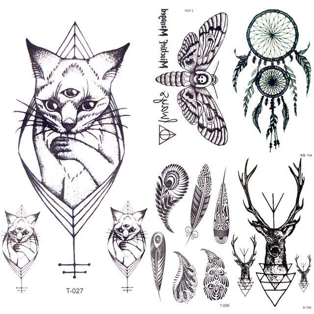 94cb953365489 10.5x6CM Black Small Geometric Cats Temporary Tattoo Stickers Dreamcatcher  Feather Men Fake Tattoo Women Body