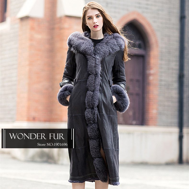 X-Panjang Fur Garment Untuk Wanita Luxury Fox Fur Hooded Double Face - Pakaian Wanita - Foto 4