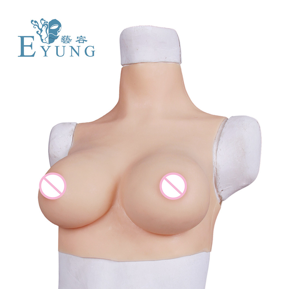 Eyung C/D/F Cup Simulated Boobs Crossdresser Breast Plate Silicone Artificial Breast Forms Tit Man Sissy False Chest Boob Breast