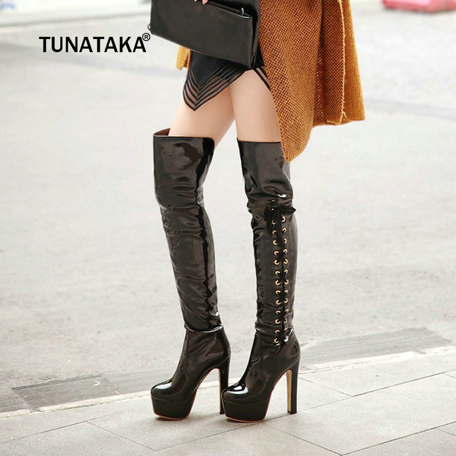 18339e5b0b1 Women Sexy Patent Leather Platform Thick High Heel Over The Knee Boots  Fashion Cross Tied Nightclub Winter Shoes Black Red White