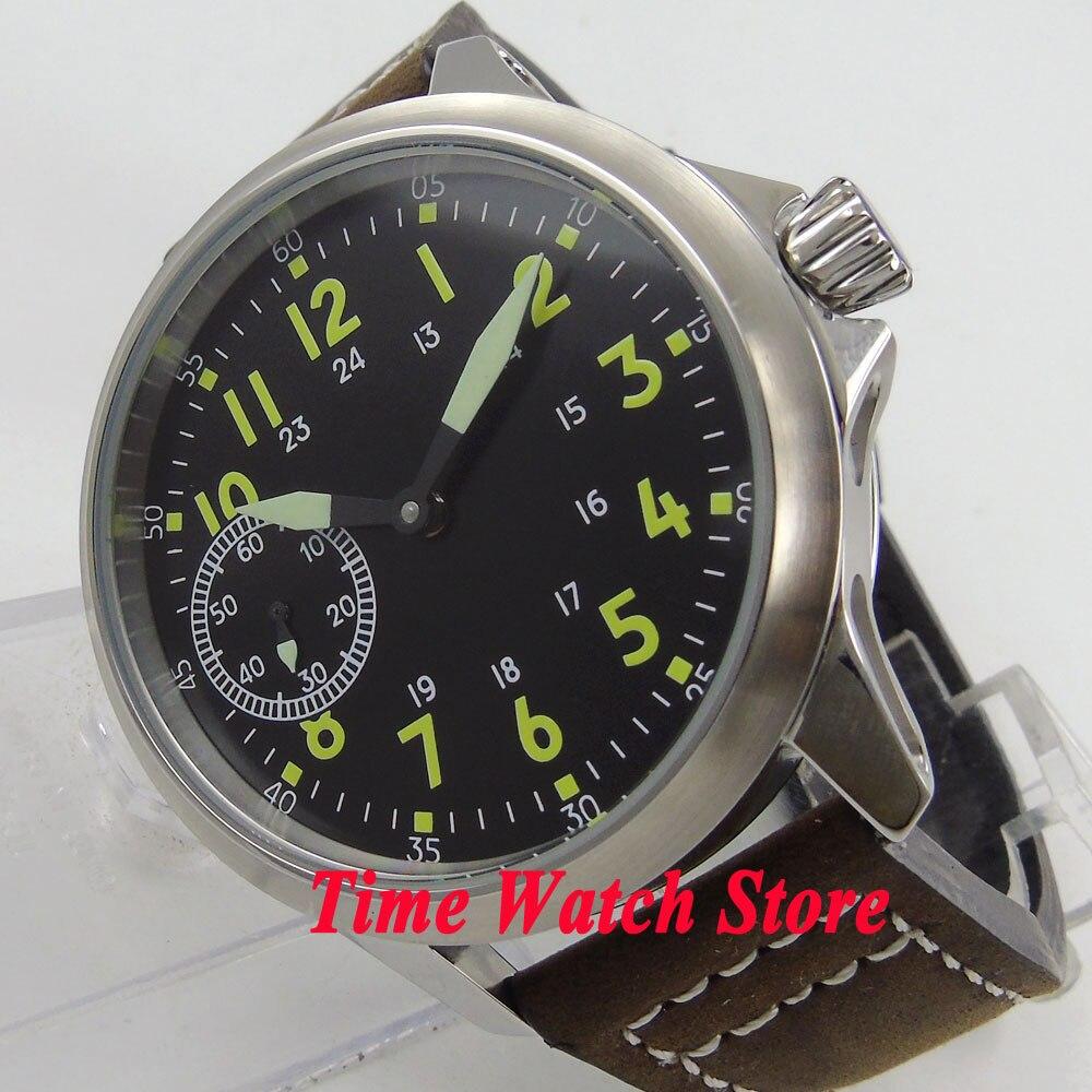 45mm black dial green marks Luminous 6497 hand winding movement men's watch cor89 44mm black sterile dial green marks relojes 6497 mens mechanical hand winding watch luminous armbanduhr cm164bk