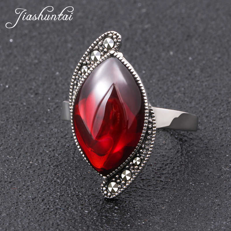 JIASHUNTAI Retro 100% 925 Sterling Silver Rings For Women Natural Precious Stones Vintage Thai Silver Ring Jewelry Gifts