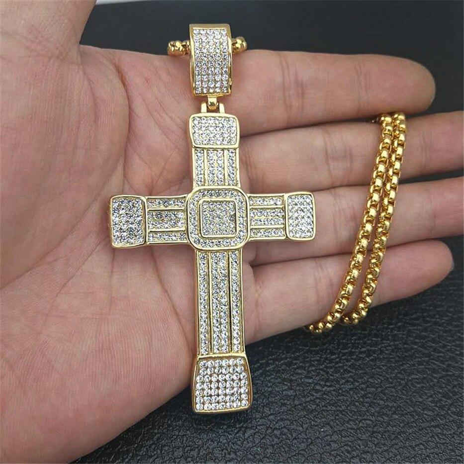 Collier homme grand pendentif croix avec chaîne en acier inoxydable et glacé Bling strass collier Hip Hop bijoux chrétiens