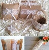 Cổ Điển mộc mạc Vải Bố Ren Phụ Kiện Đám Cưới Đặt Sổ Khách, bút, Basket, Garter, vòng Gối, đay tự nhiên cuộn, ribbon ren