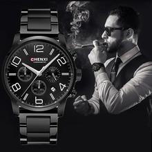 CHENXI Poignet de Sport Multifonction Hommes Montres Top Marque De Luxe En Acier et Bracelet En Cuir Mâle Chronographe À Quartz Horloges Garçon Montre