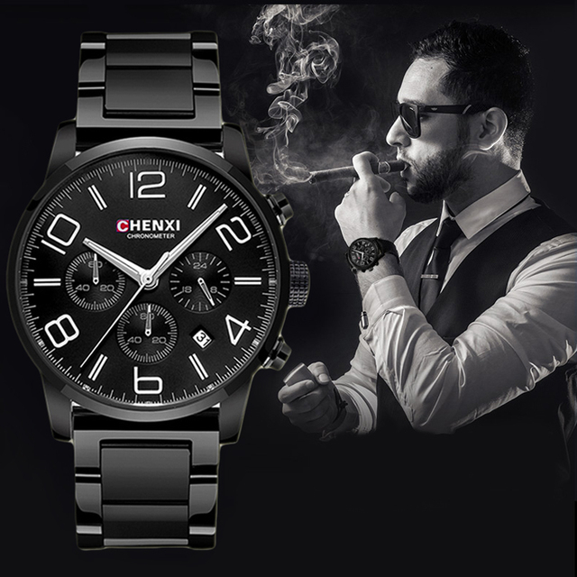 CHENXI Sports Multifunction Men's Wrist Watches Top Luxury Brand Steel & Leather Strap Male Chronograph Quartz Clocks Boy Watch