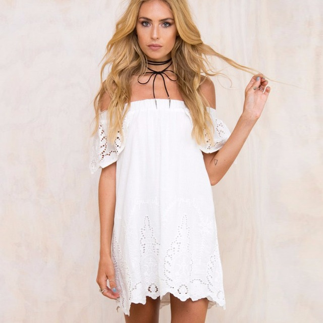 Puseky 2018 New Bra Collar Solid White Strapless Slim Lace Cute Fashion Dress Beach Resort Summer