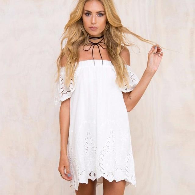 Puseky 2018 New Bra Collar Solid White Strapless Slim Lace Cute Fashion Dress Beach Resort Summer