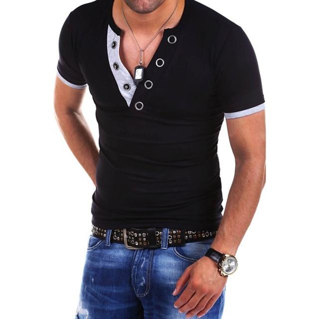 Autumn and Winter New Man s T-shirt Big V-neck Annular Popper Sanding Slim  Long Sleeve and Short Sleeve 16cae5f1cd92