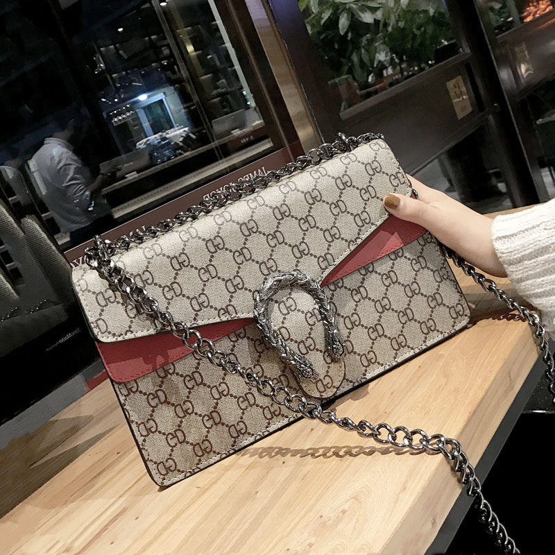 2018 new matte spell color Messenger bag female tiger head chain printing shoulder bag snake head small square package