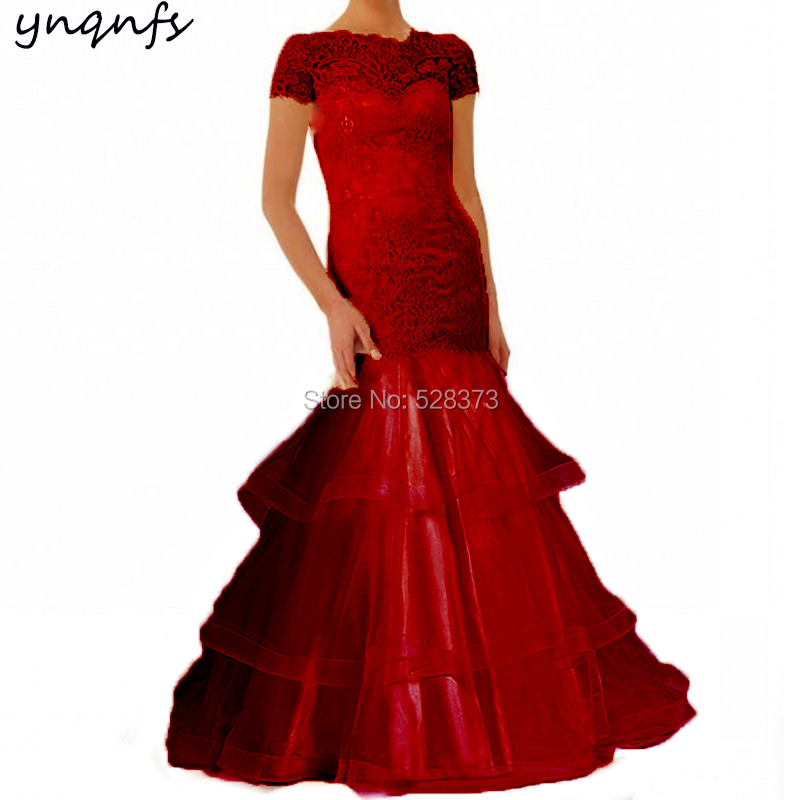 YNQNFS Dress Party Guest Wear Elegant Ruffles Mother Of The Bride Dresses With Sleeves Red/Gold/Brown/Purple/Burgundy MD333