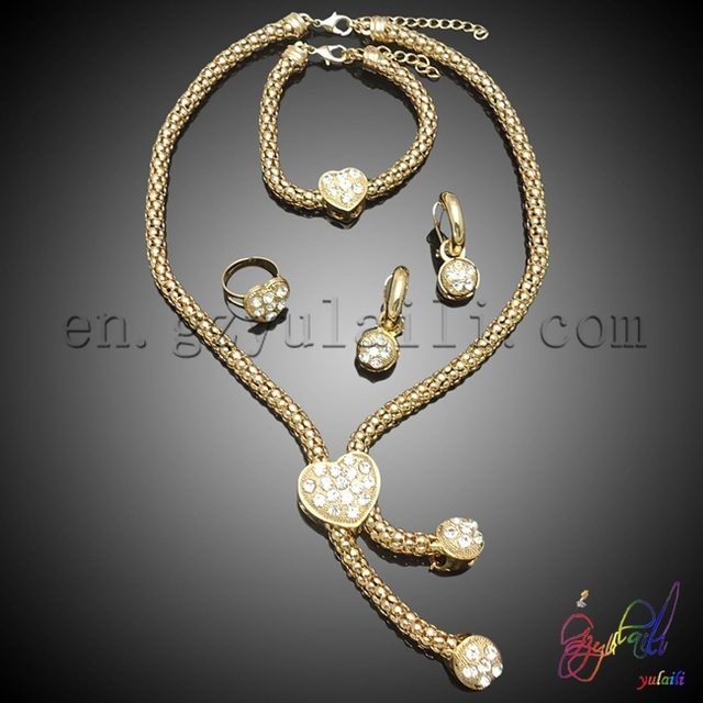 Free shipping wholesale gold plated jewelry set modern jewelry sets