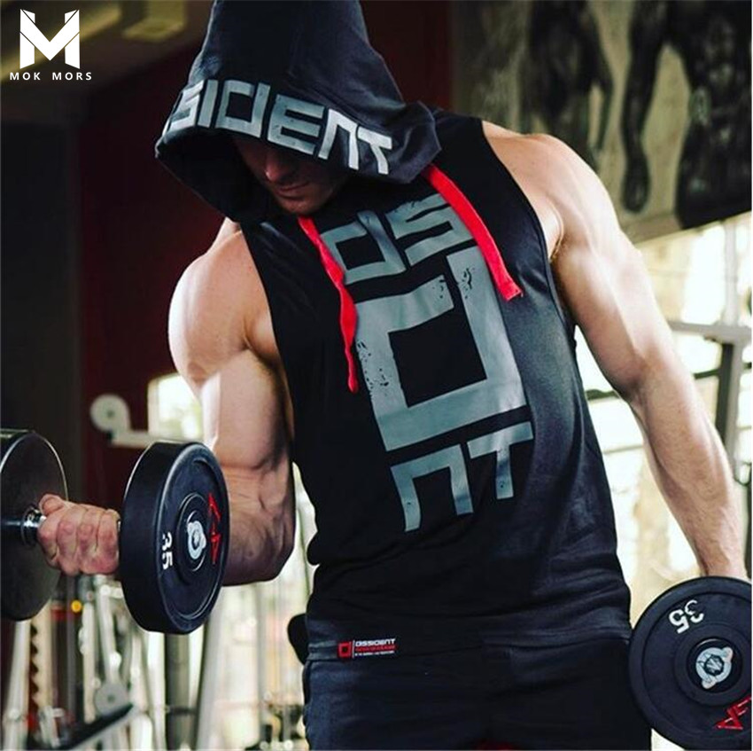 Hot 2017 Fashion Brand Sleeveless Hood Slim Trend Men   T     Shirt   High Quality Printing Slim Thick Mens Tshirt