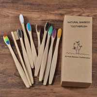 Novo design cor misturada escova de dentes de bambu eco amigável escova de dentes de madeira macia ponta de cerdas de carvão vegetal adultos escova de dentes cuidados orais