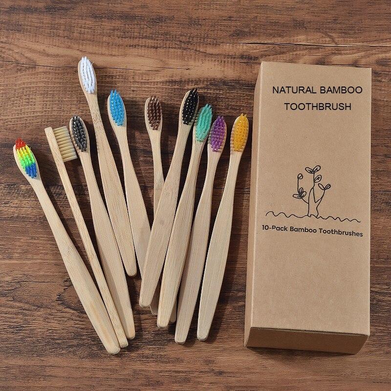 Nuevo diseño de cepillo de dientes de bambú de color mezclado Eco amigable cepillo de dientes de madera Punta de cerdas suave carbón adultos cuidado bucal cepillo de dientes